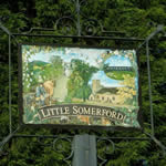Little Somerford village sign on the Millennium Green